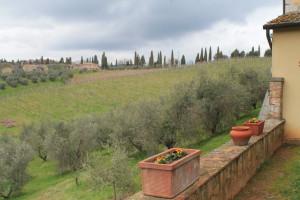 Views from window looking toward the medieval hamlet of Vaglagli